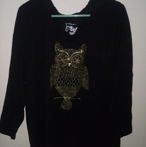 JMS Just My Size Top Blouse w/Owl Black